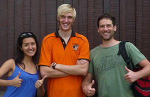 Peter, far right, had a great time in Borneo with Berlize (far left) and Dive Instructor James (centre)