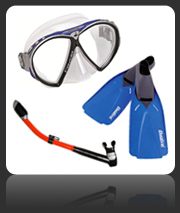 Scuba diving fins, masks and snorkels