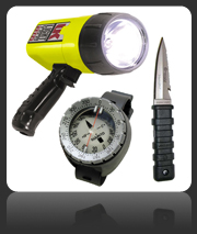 Diving Torches, Diving Knives and Compasses for Scuba Diving