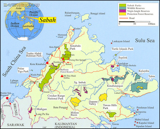 A close-up map of the state of Sabah, Borneo