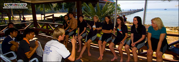 Pre Dive Briefing on the Deck of the PADI 5-Star IDC Dive Centre on Gaya Island