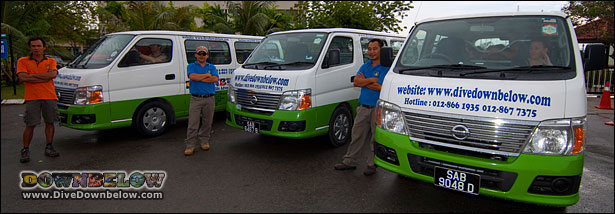 Downbelow's fleet of vans with qualified drivers and guides
