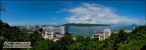 A view of Kota Kinabalu's skyline with Gaya Island in the background