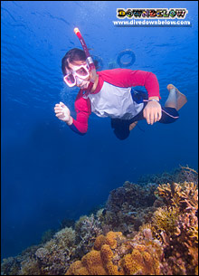A snorkeler hovering over some of the TAR Park's beautiful corals