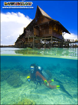Diving right beneath the rooms at Sipadan Kapalai Dive Resort