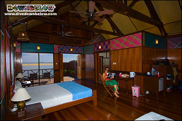 Spacious accommodations at the Sipadan Kapalai Dive Resort