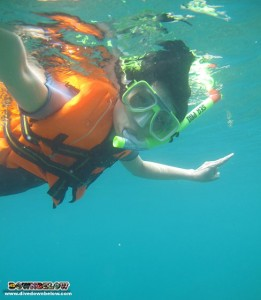 One of the Hong Kong group snorkeling