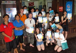 14 of the group of 24 who joined us on Gaya island for Discover Scuba Diving