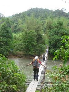 Bridge river crossing during the Salt Trail Jungle Trek