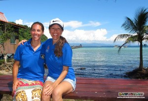 Alicen the Divemaster on the left with Joanne, Downbelow MD on the right