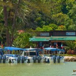 The boats in front of the dive centre on Gaya Island