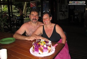Lorenzo and Pamela celebrating their 31st Anniversary with Downbelow on Gaya Island