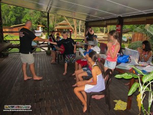 Back the dive centre the Australian International School kids get Project AWARE certs and mask-strap gifts for their effort