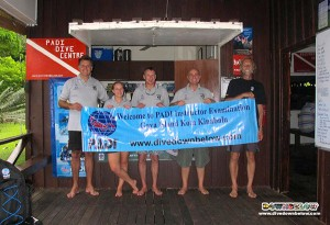 Our 3 successful PADI IE Candidates on the left, with Course Director Richard and PADI Examiner Jim on the right.