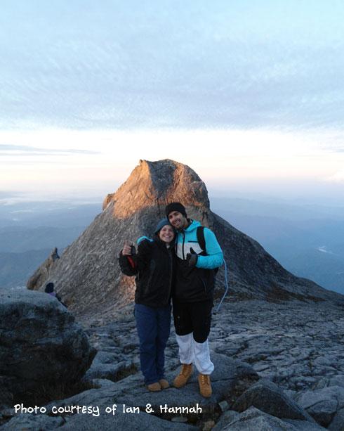 Happy Downbelow customers Ian & Hannah at the peak of Mt. Kinabalu