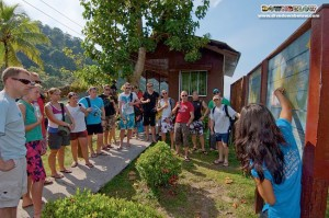 Divemaster Jessica gives an island briefing to the British Army boys and other visitors