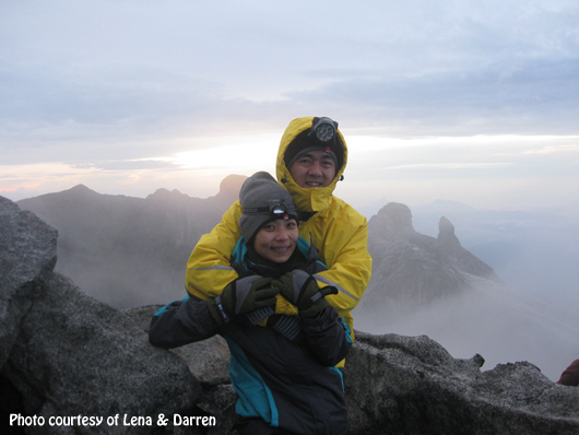 Downbelow guests Lena & Darren at the summit of Mt. Kinabalu. Beautiful photo!