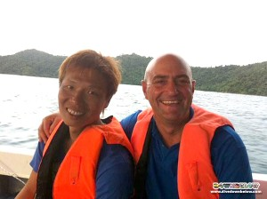 Freshly minted Open Water Scuba Instructor Roy with resident PADI Course Director Richard on the right