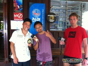 From left to right, Divemaster interns Takeshi, Weijia and Nigel getting ready for their night dive.