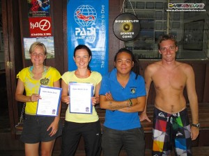 Left to right: our 2 freshly minted PADI Open Water Diver from the Czech Republic, Instructor Roy and Intern Shevvy