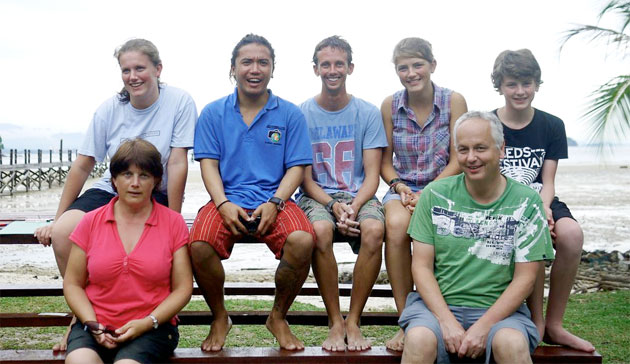 The Langford Family at Downbelow's PADI 5 Star IDC Dive Centre on Gaya island (Bob and Intern Paul in the middle)
