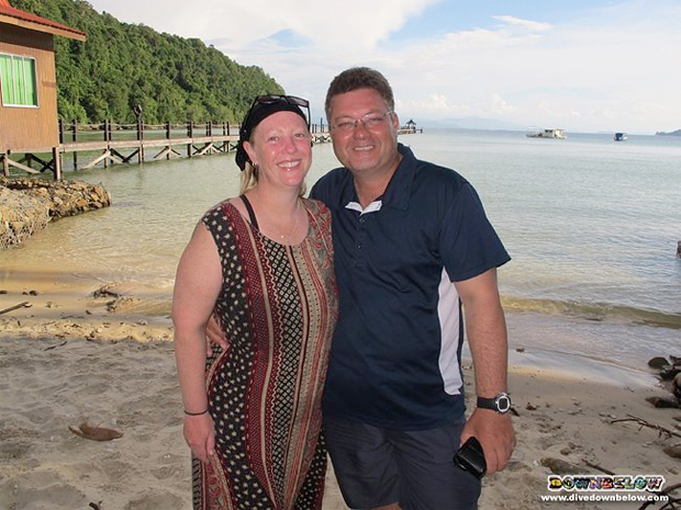Kyla and Matt, yesterday at the Downbelow PADi 5 Star IDC Dive Centre on Gaya island