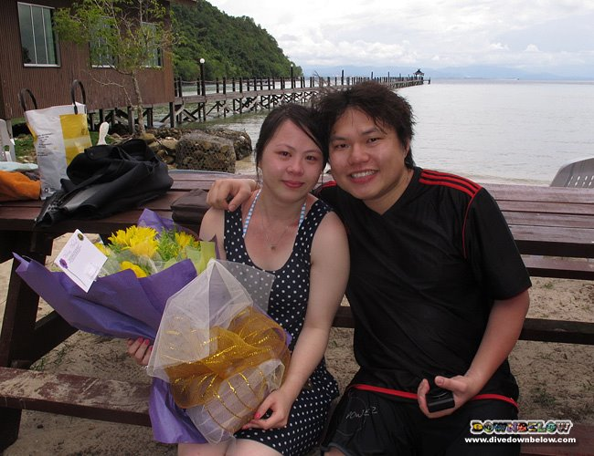 Yan Lee and Pong from Hong Kong, after the romantic, underwater proposal in Kota Kinabalu, Sabah