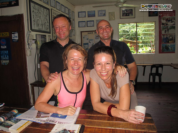 Dale Templar (front left) and Owen Gay (back left) with Richard and Joanne at the dive centre