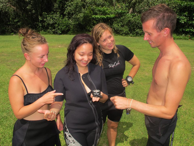 The Go Pro Girls learning from Instructor Paul