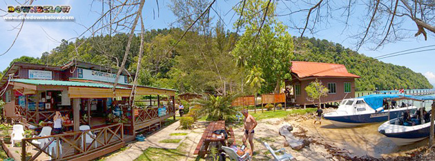 Panoramic shot of our Kota Kinabalu dive centre on Gaya island in Sabah
