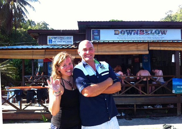 Ex-intern-now PADI Divemaster Leanne with PADI Course Director Richard Swann