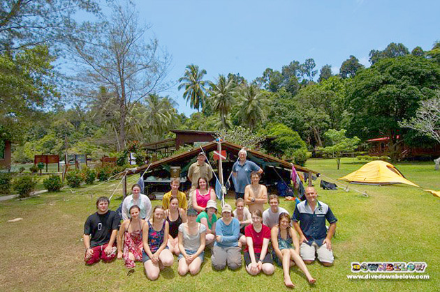 Group 2 of University of Glamorgan Students at their jungle camp in Kota Kinabalu, Sabah, Borneo