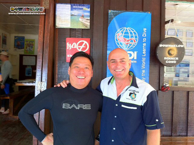 Dr. Hakimi from Sabah's Hyperbaric Decompression Chamber with Resident PADI Course Director Richard