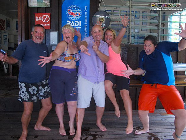 The crazy bunch of Divemaster Interns. In the middle is our resident PADI Course Director Richard, but fits in perfectly with any crazy group.