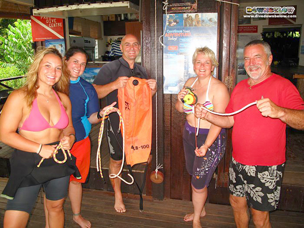 Downbelow's motley crew of Divemaster interns with resident PADI Course Director Richard in the middle