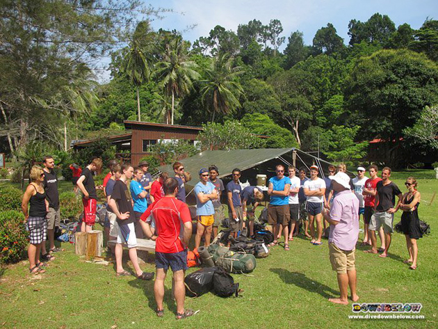 Gap Year students Group 1 arrive a the Downbelow's Gaya island dive station