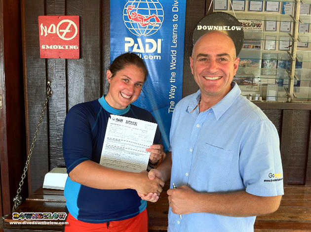 Pro diver and PADI Divemaster Laura with our resident PADI Course Director Richard Swann