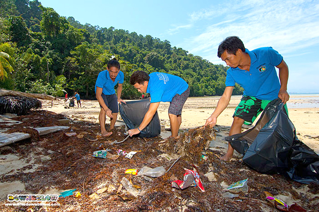 Downbelow's staff does a beach clean-up every morning and gets a head start on September's Debris Month of Action.