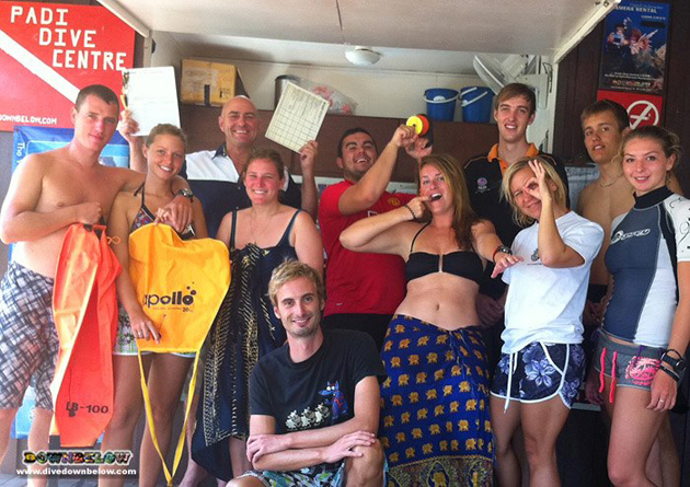 The crazy bunch of candidates on our Sep 2012 PADI IDC with Downbelow's Richard and James standing tall in the back.