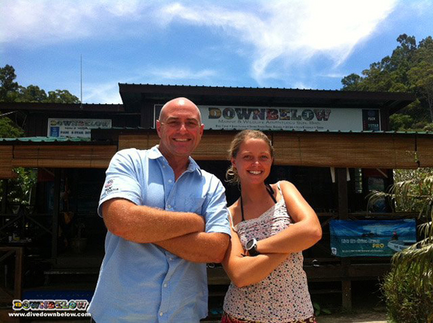 Resident PADI Course Director Richard Swann, proudly next to new PADI Divemaster, Nena from Belgium