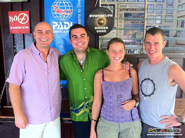 Form the left: Resident PADI Course Director Richard on the left, with new IDC interns Sam, Nena and Wouter.