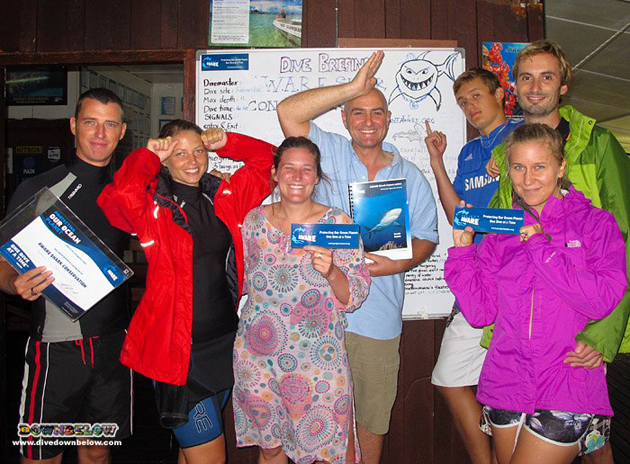 Recently qualified PADI OWSI are now also AWARE Shark Speciality Instructors