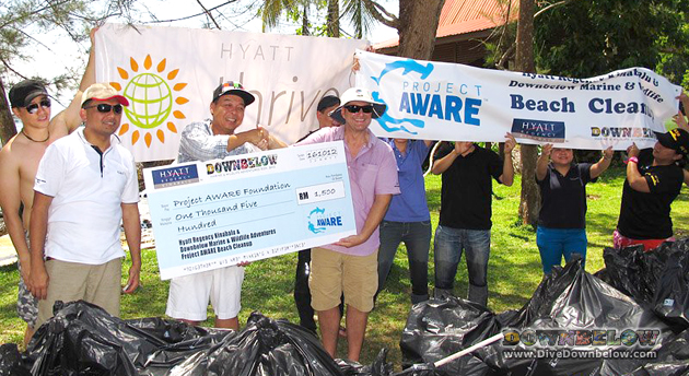 Downbelow and Hyatt Regency Kinabalu's joint Project AWARE Beach Cleanup.