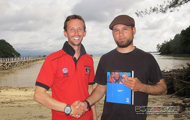 New PADI Divemaster Noah on the right with his qualifying PADI Instructor, Paul, on the left.