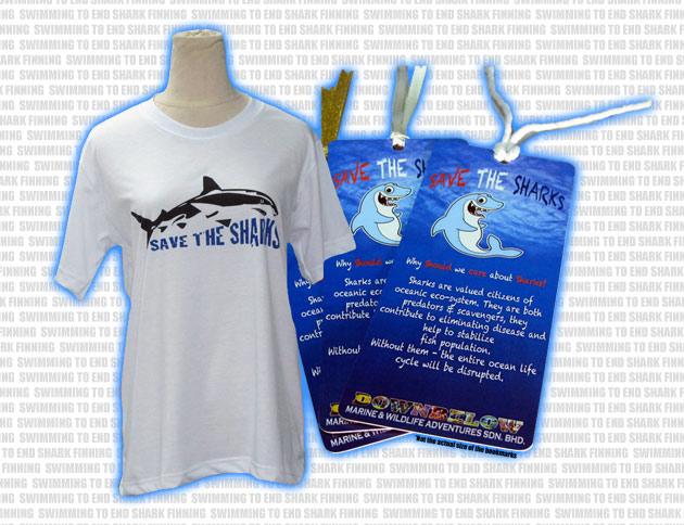 Swimming to End Shark Finning Bookmarks & T-Shirts