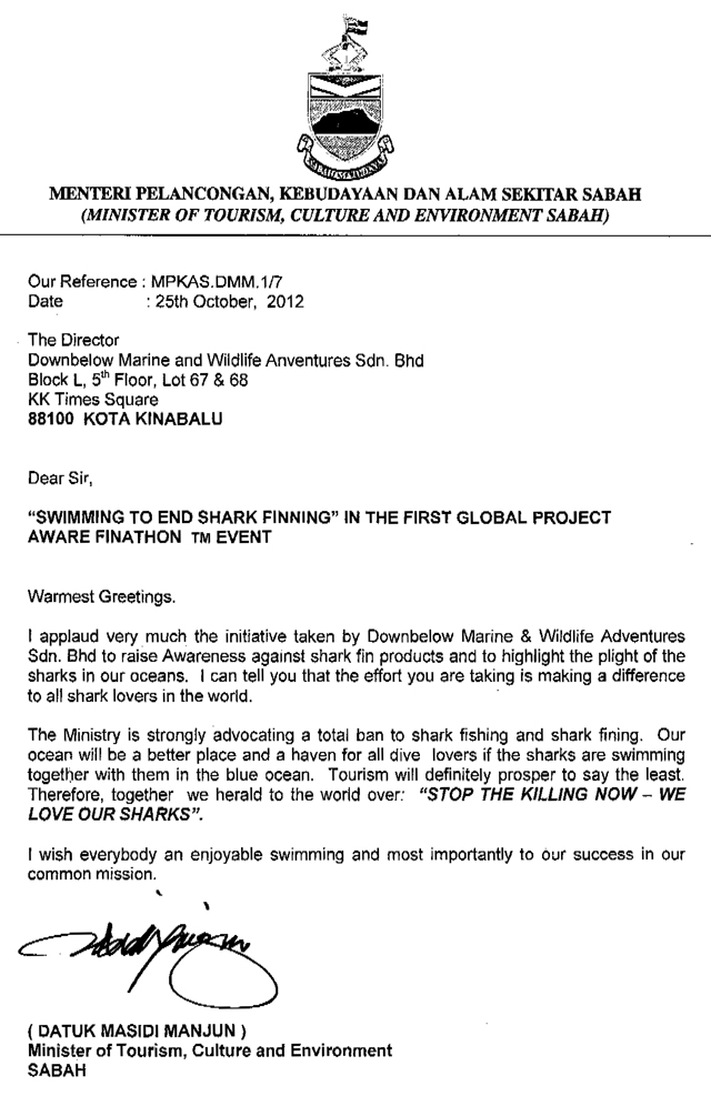 Datuk Masidi Manjun, Ministry of Tourism, Arts & Culture - Letter of Support for Downbelow's Finathon