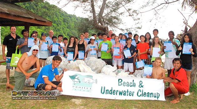 Downbelow with students and teachers from the Kinabalu International School during the weekend's Project AWARE Cleanup Event