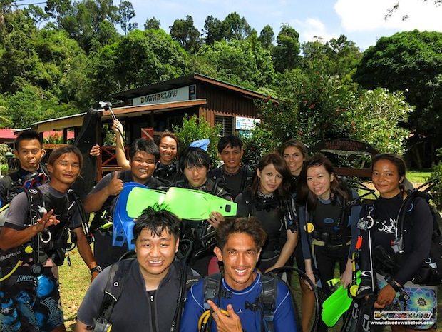 china group falls in love with diving in borneo