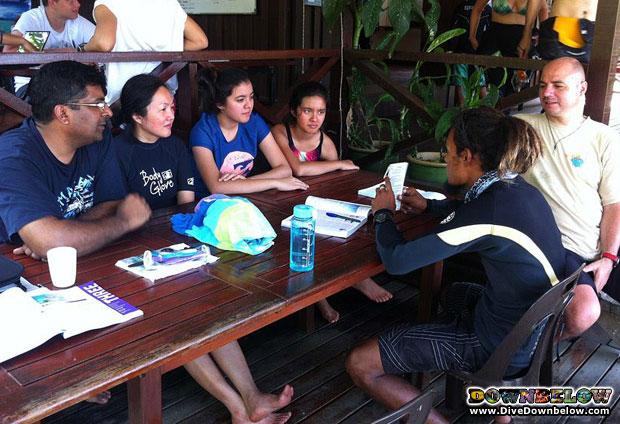 padi skin diver family in borneo