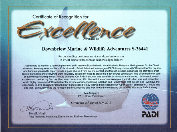 certificate of excellence borneo